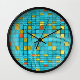 Block Aqua Blue and Yellow Art - Block Party 2 - Sharon Cummings Wall Clock