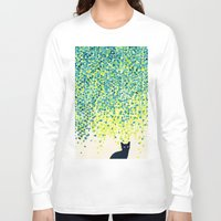 budi Long Sleeve T-shirts featuring Cat in the garden under willow tree by Picomodi