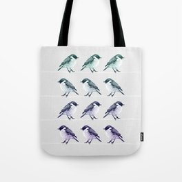Birds on thin lines Tote Bag