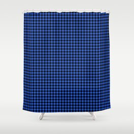 Mini Black and Royal Blue Cowboy Buffalo Check Shower Curtain