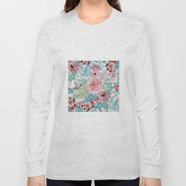 Pretty watercolor hand paint floral artwork. Long Sleeve T-shirt