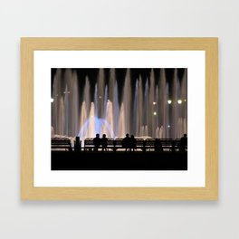 Fountains and Silhouettes Framed Art Print