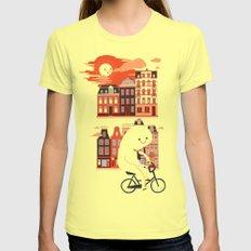 Happy Ghost Biking Through Amsterdam SMALL Womens Fitted Tee Lemon