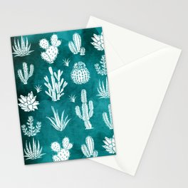Cactus Pattern on Teal Stationery Cards