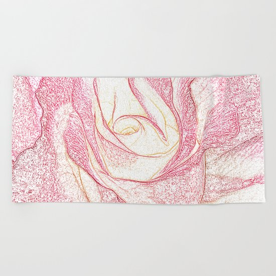 Summer Rose Pencil on White Beach Towel