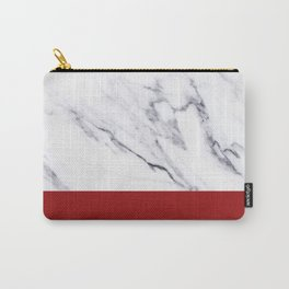 White Marble Red Hot Striped Carry-All Pouch