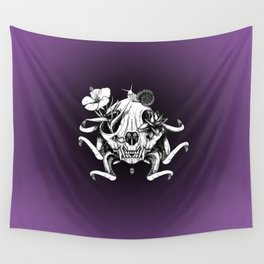 The Skull the Flowers and the Snail Wall Tapestry