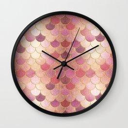 Rose Gold Glitter Mermaid Scales Wall Clock