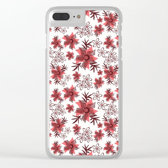 Red flowers on a white background. Clear iPhone Case