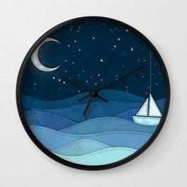 The Night Ocean Parade. Nautical Yacht Starry Night Digital Fabric Illustration. Wall Clock