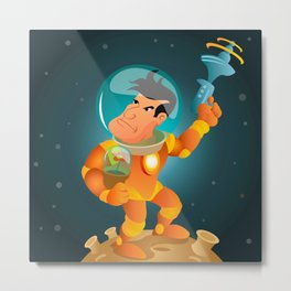 Astronaut and the flower Metal Print