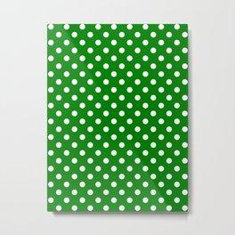Small Polka Dots - White on Green Metal Print