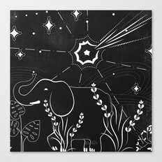 Elephant and comet Canvas Print