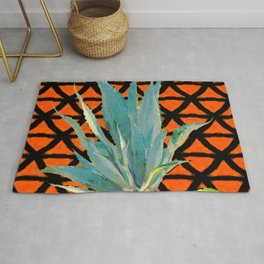 CUMIN ORANGE BLUE DESERT AGAVE CACTI ART Rug