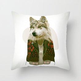 wolf jacket Throw Pillow