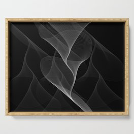 Black and White Flux #minimalist #homedecor #generativeart Serving Tray