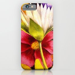 'Moi et Mes Parroquets' floral portrait painting by Frida Khalo iPhone Case