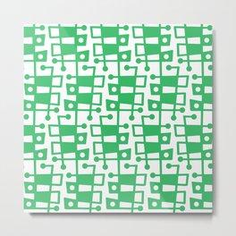 Mid Century Modern Abstract 213 Green Metal Print