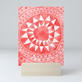 Red Tribal Triangle Circle Mini Art Print