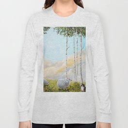 Afternoon on the Hill Birch Tree Painting Long Sleeve T-shirt