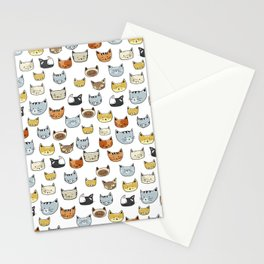 Cat Face Doodle Pattern Stationery Cards