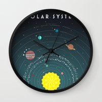 solar system Wall Clocks featuring Solar System by scarriebarrie
