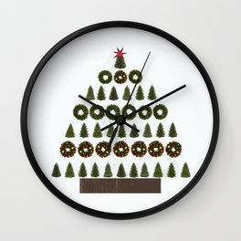 Xmas tree of trees and wreaths Wall Clock