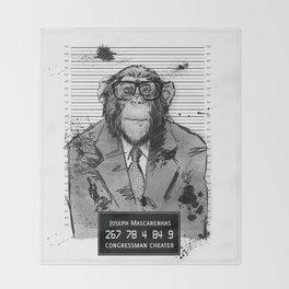 Monkey Mugshot Throw Blanket