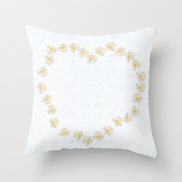 Daisy chains and daisy hearts Throw Pillow