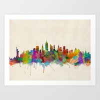 new york city Art Prints featuring New York City Skyline by artPause