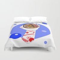 the moon Duvet Covers featuring Moon by scoobtoobins