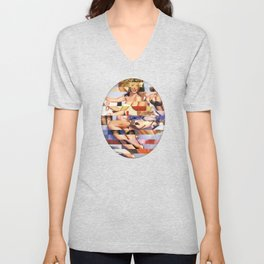 Glitch Pin-Up Redux: Taylor & Tiffany Unisex V-Neck