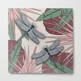 Dragonfly in Tropical Wetlands - Pink & Brown Metal Print