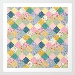Spring cottage patchwork Art Print