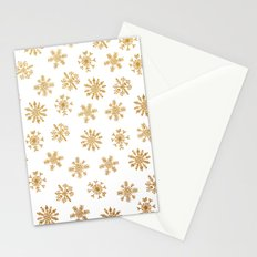 Golden Snowflakes Stationery Cards