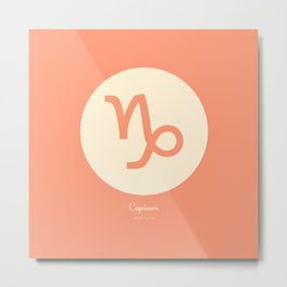 Capricorn Symbol Pink Metal Print
