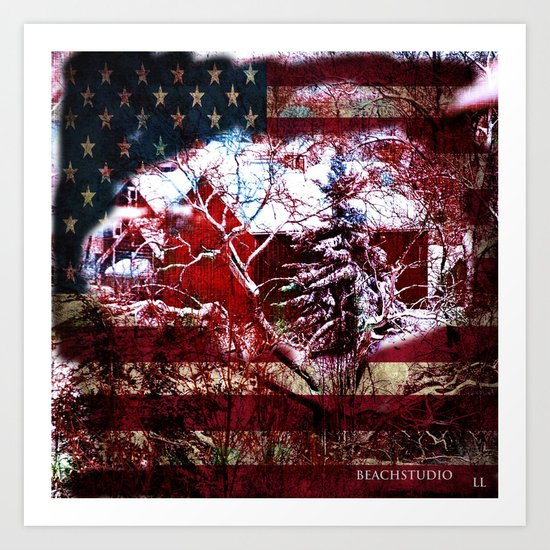 Patriotic American Barn Art Print