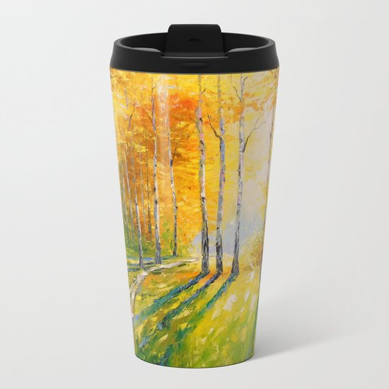 Road in a birch forest Metal Travel Mug