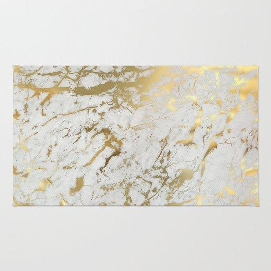 Chevron Marble Rug: Gold Marble Rug By Marta Olga Klara