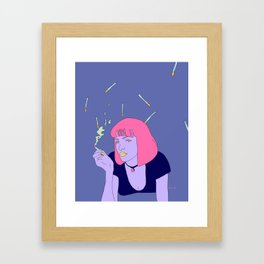 Chilling with a cig Framed Art Print