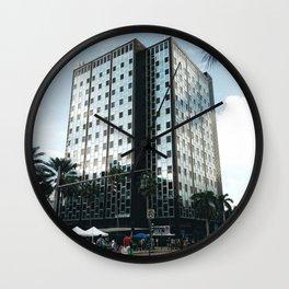 Reflective building in miami beach Wall Clock
