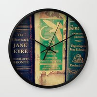 jane eyre Wall Clocks featuring Jane Eyre by Apples and Spindles