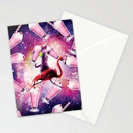 Rave Space Cat On Flamingo Unicorn - Milkshake Stationery Cards