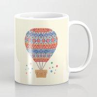 hot air balloon Mugs featuring Hot Air Balloon by haidishabrina