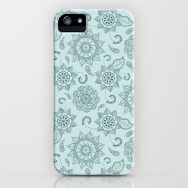 Floral Mint Pine Mandala  iPhone Case