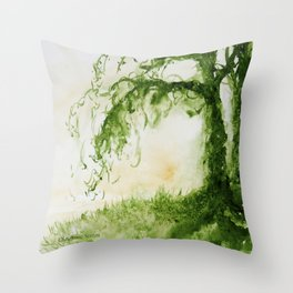 Green Sap Green WaterColour Tree by CheyAnne Sexton Throw Pillow