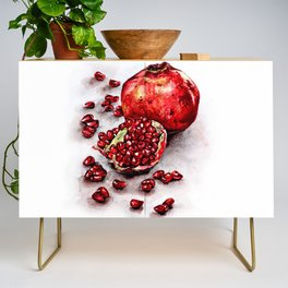Red pomegranate watercolor art painting Credenza
