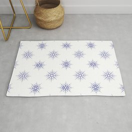 Seamless pattern with blue snowflakes on white background Rug