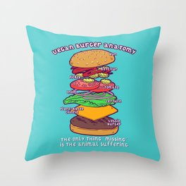 Vegan Burger Anatomy Throw Pillow