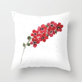 Red Floral Watercolor Throw Pillow